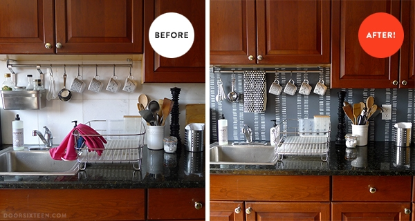 Turning an ugly backsplash into something that's quite nice to look on ugly home before after, ugly kitchen cabinet makeover, ugly kitchen remodels, ugly travertine tile,