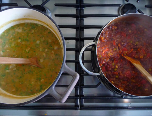 Pots of Curried Black-Eyed Pea Soup and Vegan Chili