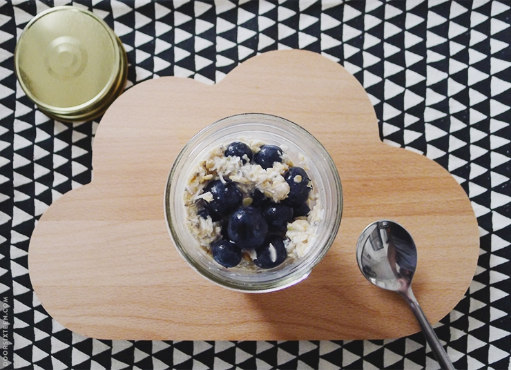 overnight oats topped with blueberries