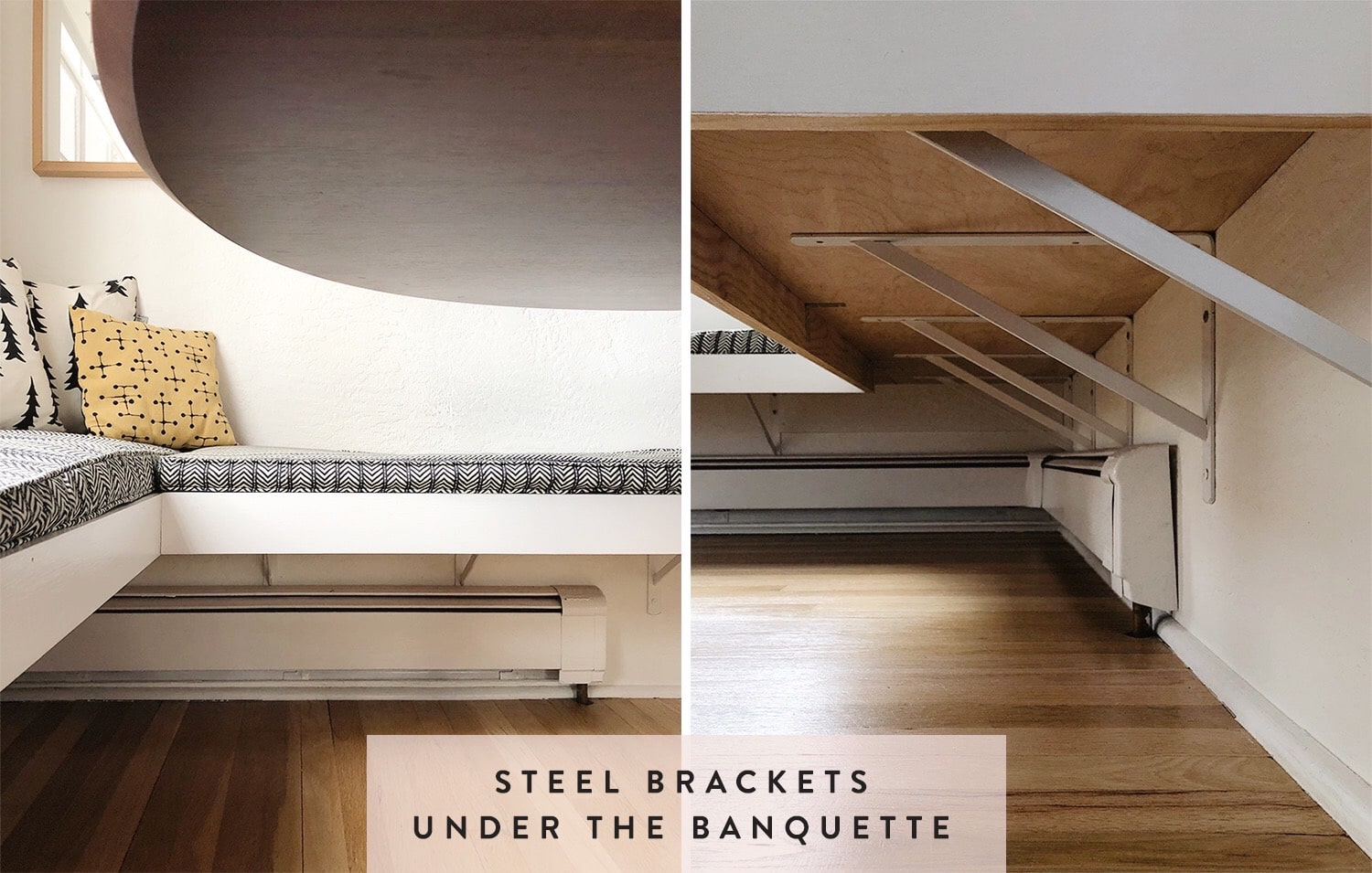 steel brackets supporting a floating banquette